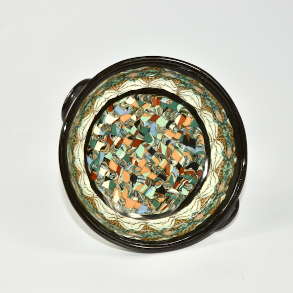 Gerbino Vallauris French mosaic pedestal bowl art deco French pottery ceramics 5