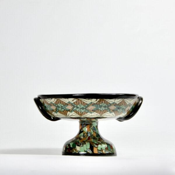 Gerbino Vallauris French mosaic pedestal bowl art deco French pottery ceramics
