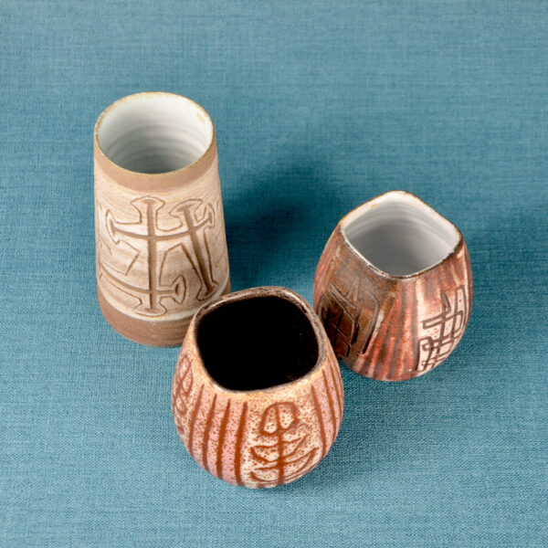 Trio of small Accolay sgraffito vases mid century French pottery 1950s ceramics French studio pottery 1