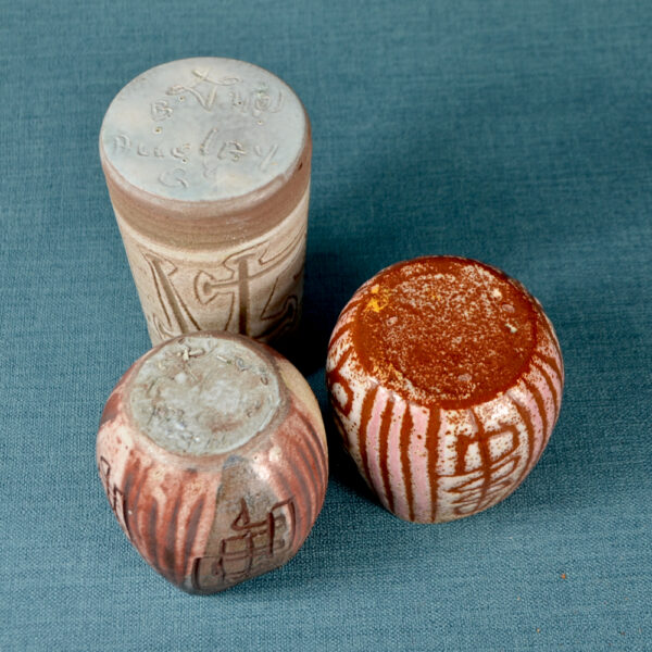 Trio of small Accolay sgraffito vases mid century French pottery 1950s ceramics French studio pottery 2