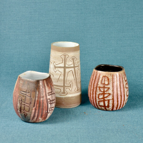 Trio of small Accolay sgraffito vases mid century French pottery 1950s ceramics French studio pottery 3