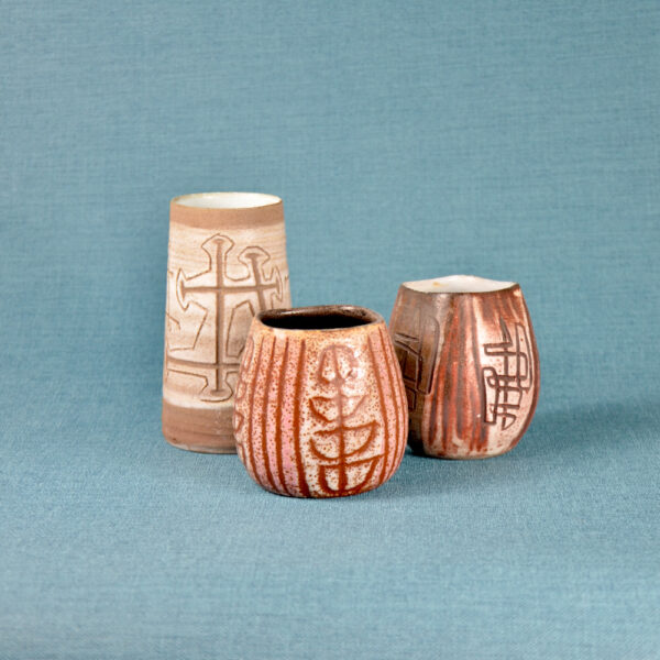 Trio of small Accolay sgraffito vases mid century French pottery 1950s ceramics French studio pottery