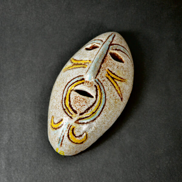 accolay-ceramic-mask-wall-applique-mid-century-french-pottery-1960 c