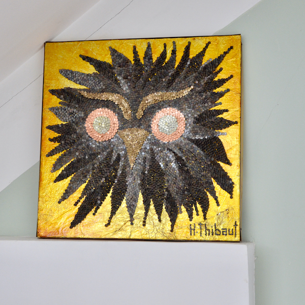1960s mixed media picture owl 3D art H Thibaut mid century 1970s x