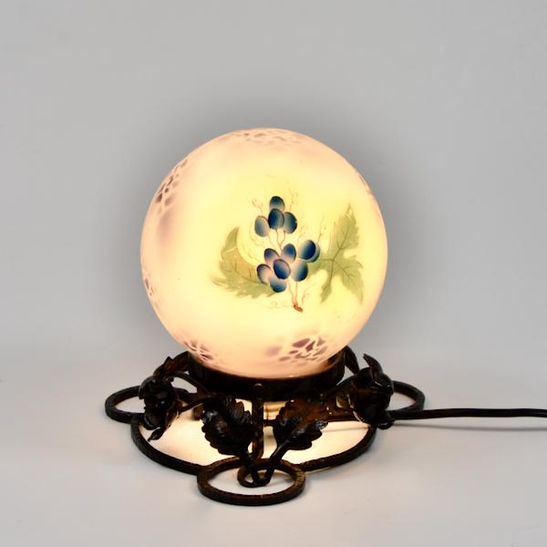 Art Deco enamelled glass night-light, globe lamp