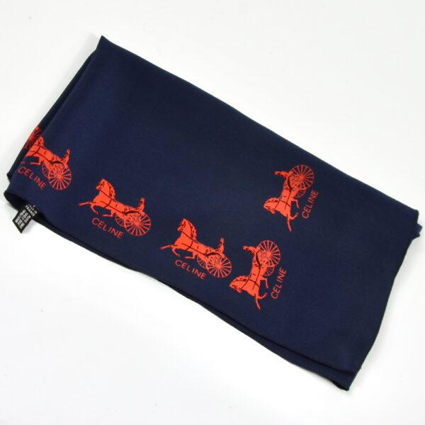 Celine signature silk scarf navy blue french vintage designer scarf Vuitton 1