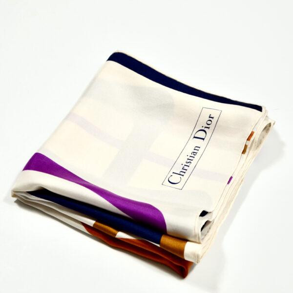 Christian Dior silk scarf geometric white purple vintage french designer silk scarf paris couture 2