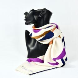 Christian Dior silk scarf geometric white purple vintage french designer silk scarf paris couture 3