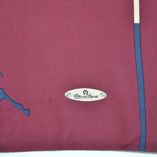 Etienne Aigner silk scarf equestrian polo vintage