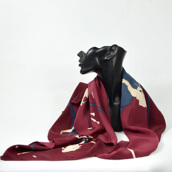 Etienne Aigner vintage silk scarf with polo design in burgundy 1