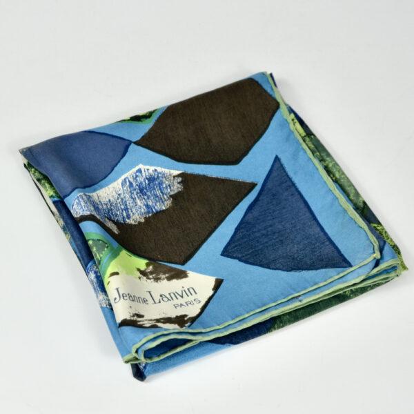 Jeanne Lanvin silk scarf paris couture scarf french designer blue green 1950s 1960s 2