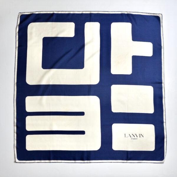 Lanvin silk scarf vintage 1980s french designer silk scarf couture navy blue white