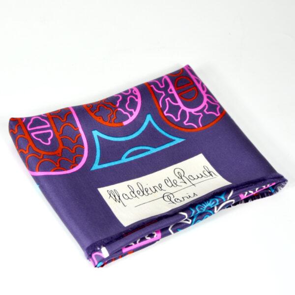Madeleine de Rauch vintage Paris silk scarf purple 1960s 1970s french designer scarf 1