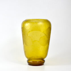 Montjoye Legras Art Deco vase in yellow wheel-etched glass
