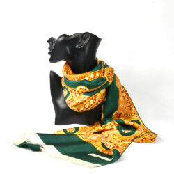 Pierre Baccara French silk scarf vintage Paris couture scarf orange green 1960s 2
