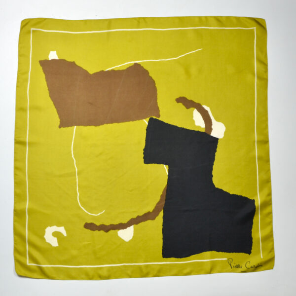 Pierre Cardin vintage 1980s silk scarf abstract gold brown black french designer