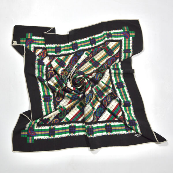 Ted Lapidus silk scarf vintage French designer scarf green black paisley 2