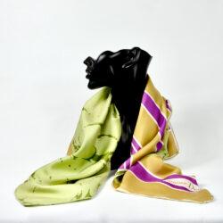 christian dior vintage silk scarf vintage french designer scarf green pink couture