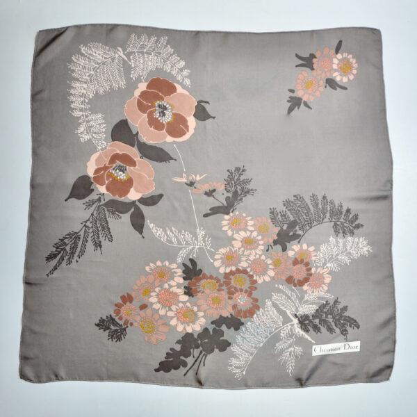 christian dior vintage silk scarf 1970s beige floral french designer silk scarf beige pink floral 3