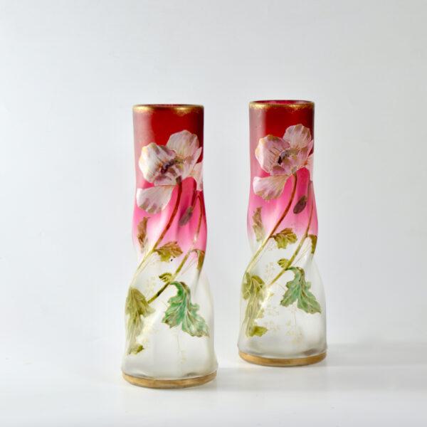 pair of Legras vases antique french art nouveau glass enamelled glass 1890s
