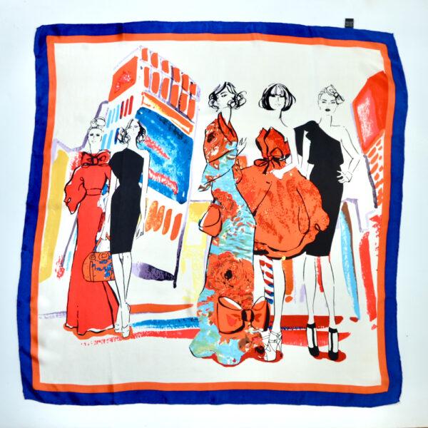 vintage 1980s fashion paris silk scarf picture scarf models