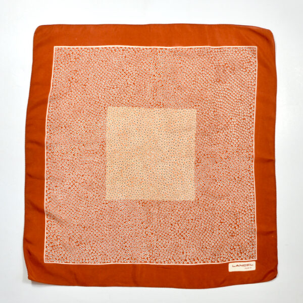 vintage Lancel silk scarf paris silk gavroche cinnamon brown 2