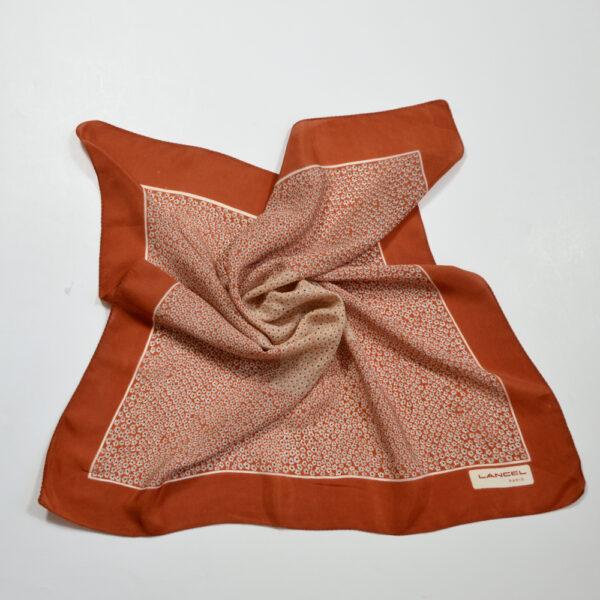 vintage Lancel silk scarf paris silk gavroche cinnamon brown 4