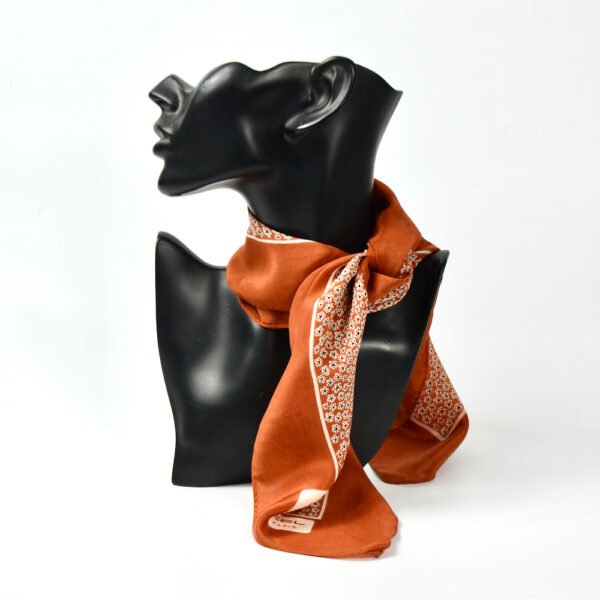 vintage Lancel silk scarf paris silk gavroche cinnamon brown