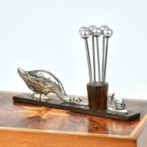 Duck snail Art Deco cocktail stick set chrom macassar ebony French 1930s antique barware