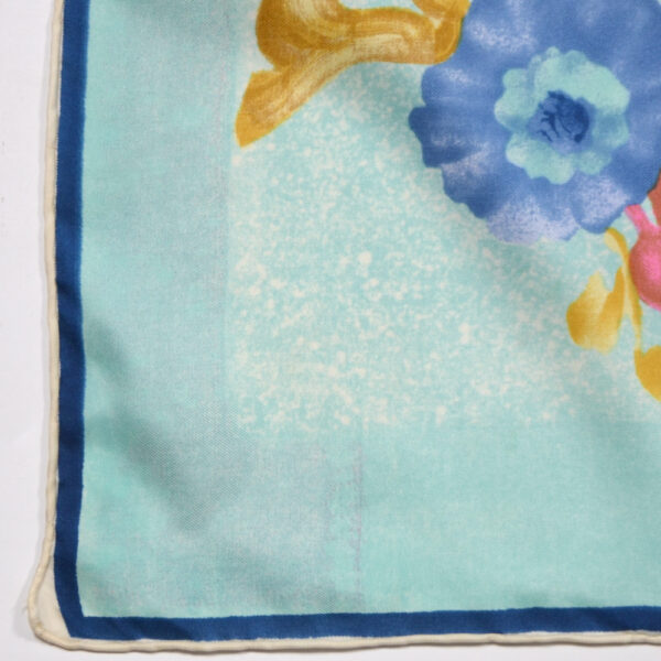 Jean Patou silk scarf Paris designer silk scarf French couture turquoise 1950s picture scarf 1