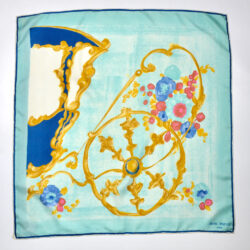 Jean Patou silk scarf Paris designer silk scarf French couture turquoise 1950s picture scarf