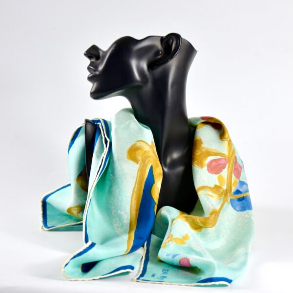 Jean Patou silk scarf Paris designer silk scarf French couture turquoise 1950s picture scarf x