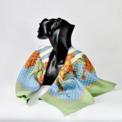 Jim Thompson pre-owned Thai silk scarf green blue floral (1)
