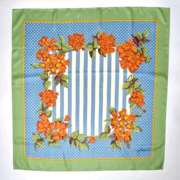 Jim Thompson pre-owned Thai silk scarf green blue floral 1