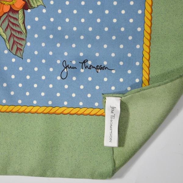Jim Thompson pre-owned Thai silk scarf green blue floral 2