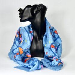 Lanvin Castillo silk scarf vintage Paris designer scarf in blue 1960s 1