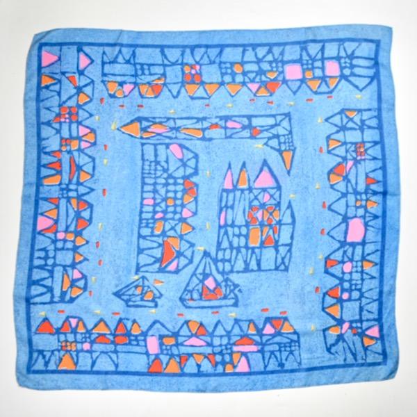 Lanvin Castillo silk scarf vintage Paris designer scarf in blue 1960s