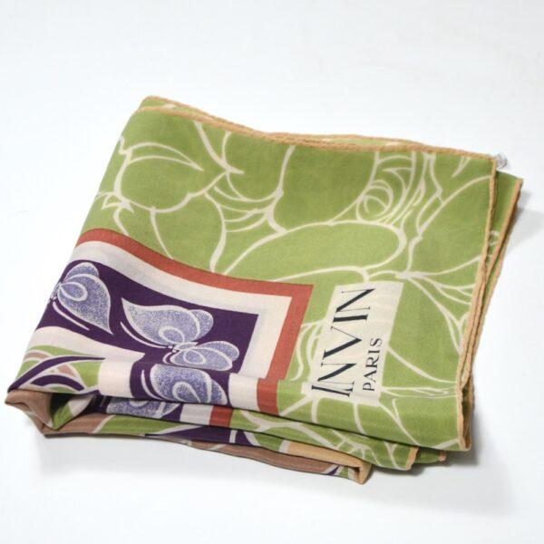 Lanvin silk scarf 1970s green purple floral french vintage designer scarf 1