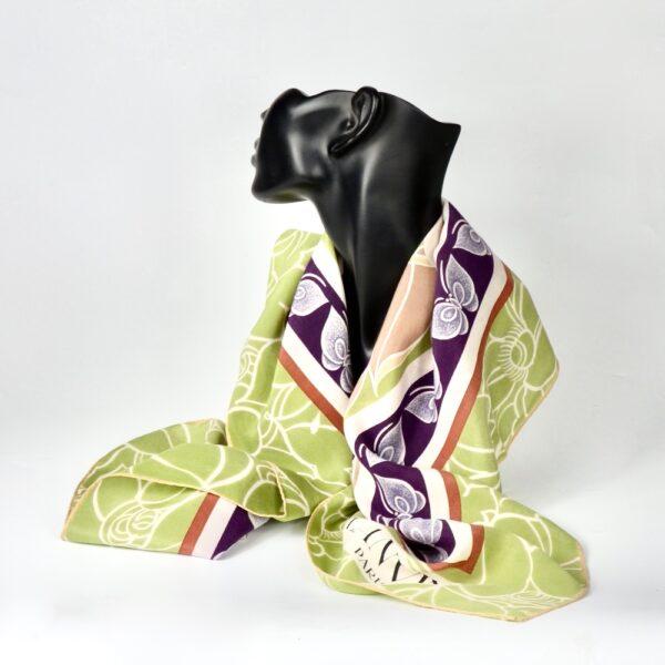 Lanvin silk scarf 1970s green purple floral french vintage designer scarf 2