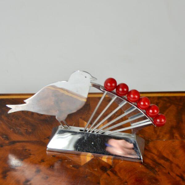 art deco bird and cherries cocktail stick set chrome bakelite french antique barware 1 (1)