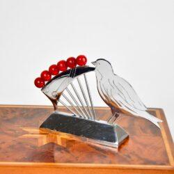 art deco bird and cherries cocktail stick set chrome bakelite french antique barware
