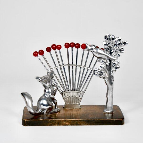 benjamin rabier art deco cocktail stick set bakelite chrome fox crow fable barware 1930s 1
