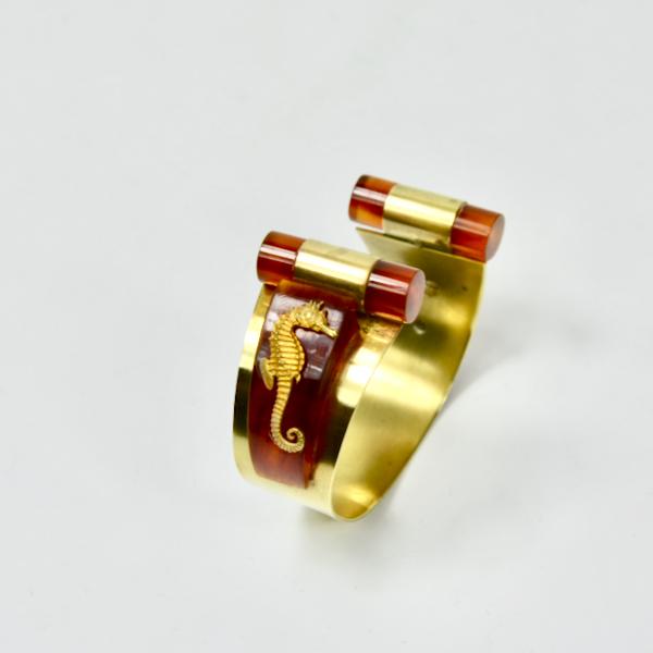 jean painleve art deco bangle bracelet 1930 french antique seahorse