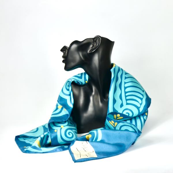 maggy rouff 1960s silk scarf vintage french designer scarf abstract turquoise 2 (1)