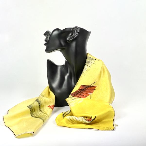 maggy rouff silk scarf vintage designer silk scarf 1950s yelllow chinese junks 1