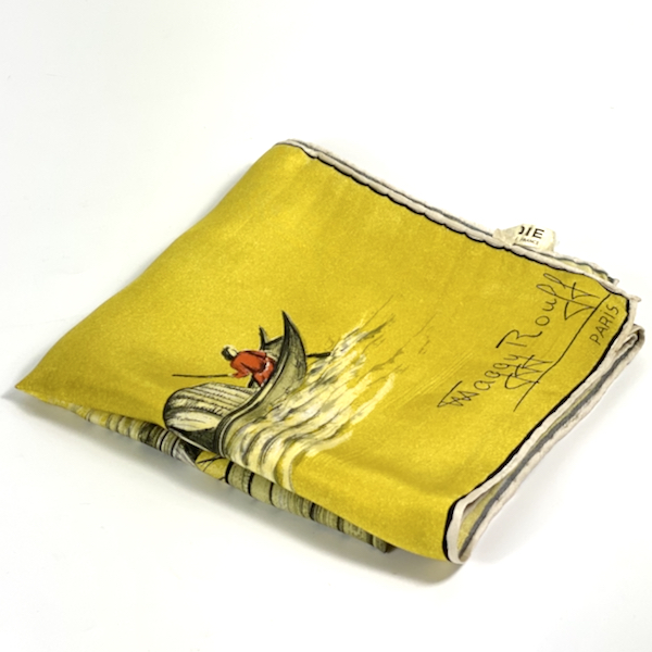 maggy rouff yellow silk scarf vintage designer silk scarf 1950s yelllow chinese junks 2
