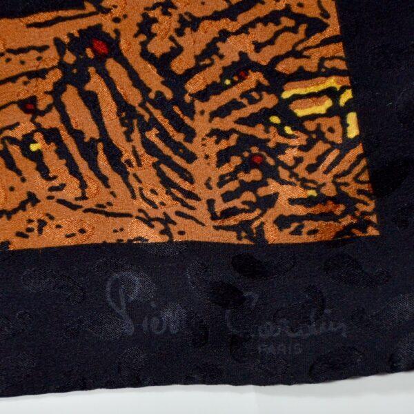 pierre cardin silk scarf leaf red orange yellow vintage french designer scarf 1