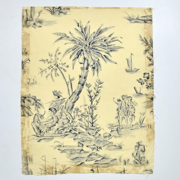 18th century Toile de Jouy Homage de l'Amérique à la France antique French textile panel 1783 4
