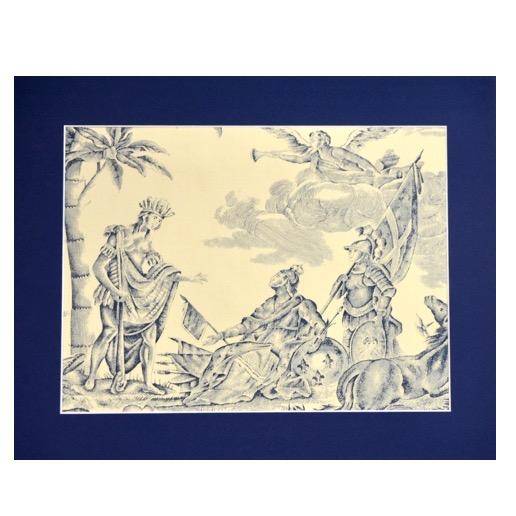18th century Toile de Jouy Homage de l'Amérique à la France antique French textile panel 1783 6