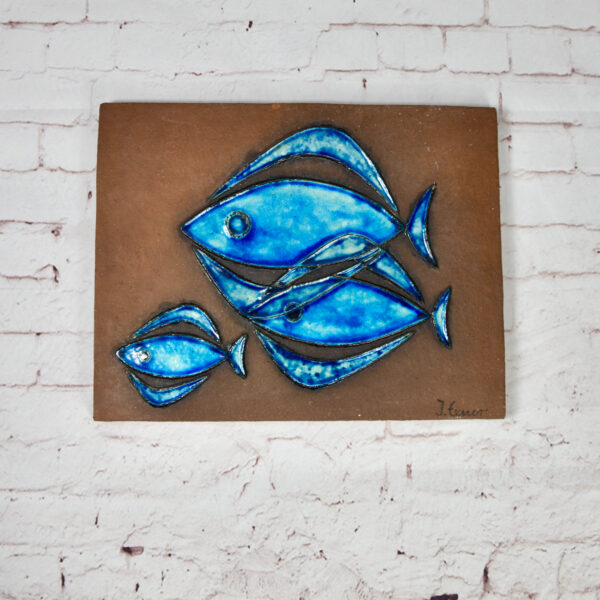 Inger Exner Knabstrupp Denmark fish wall plaque 1960 mid century Danish pottery wall decor